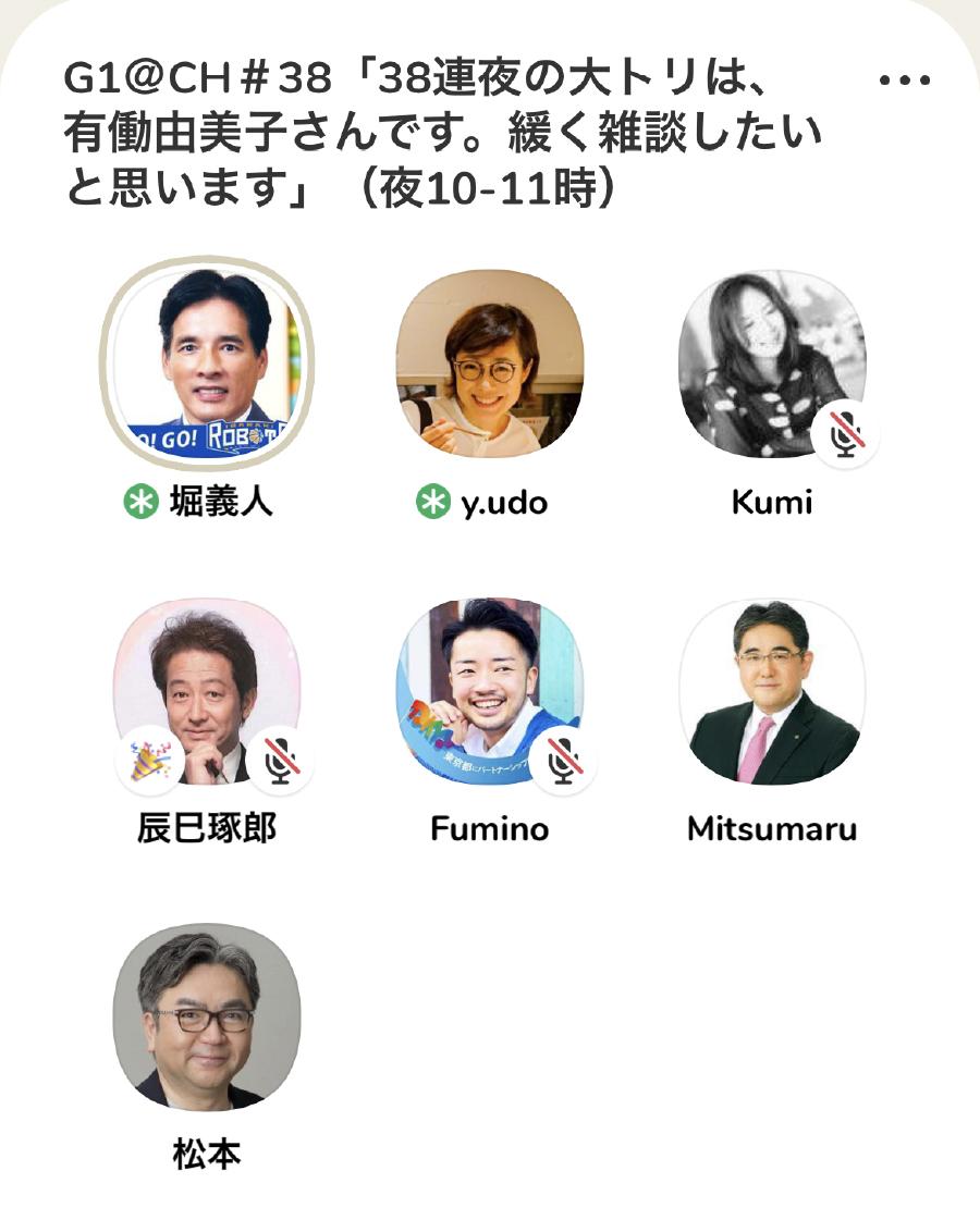 G1@Clubhouse㊳「38連夜の大トリは、有働由美子さんです。緩く雑談したいと思います」有働由美子×堀義人